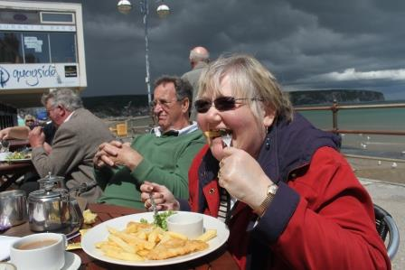21. Irene tucks in to fish and chips